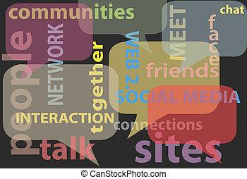ネットワーク, 媒体, 言葉, 社会, 泡, 話