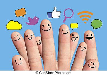 ネットワーク, 幸せ, smileys, 指, 社会