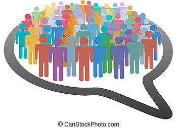 ネットワーク, 群集, 人々, 媒体, スピーチ, 社会, 泡