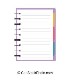 ノート, カラフルである, tabs-, イラスト, らせん状に動きなさい, ベクトル, ブランク