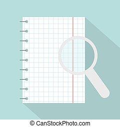 ノート, 拡大鏡, checkered, イラスト, らせん状に動きなさい, -, ベクトル