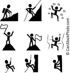 ハイキング, icon., ベクトル, 上昇