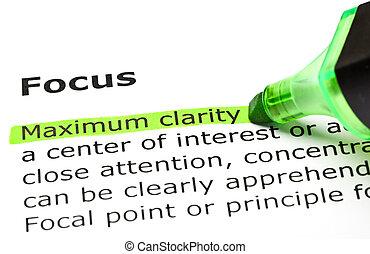 ハイライトした, clarity', 下に, 'maximum, 'focus'