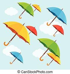 ハエ, 平ら, カラフルである, clouds., ベクトル, デザイン, 傘