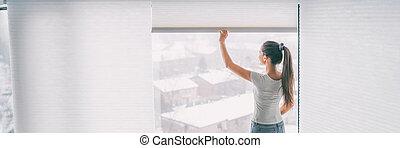 ハチの巣, カーテン, 女, 窓, ブラインド, 陰, ペーパー, 家, ひだを取られた, 旗, 細胞, 背景, ライフスタイル, treatement, とどまること, 開始