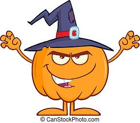 ハロウィーン, カボチャ, 帽子, 魔女