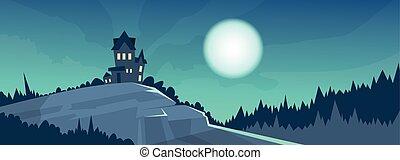 ハロウィーン, 月光, gothic, 夜, 城, 休日, 旗, 光景