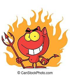 ハロウィーン, 赤, 火, 悪魔