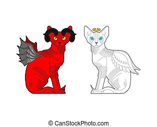 ハロー, 赤, 天使, horns., ペット, ねこ, demon., 悪魔, 白, 翼