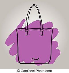 ハンドバッグ, 女, ファッション, イラスト, ベクトル, 手, 引かれる