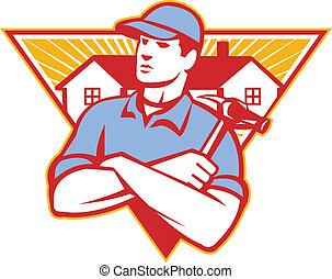 ハンマー, される, 三角形, 腕, 建設, 交差させる, 家, 労働者, 背景, セット, 中, 建築者, style., レトロ, イラスト