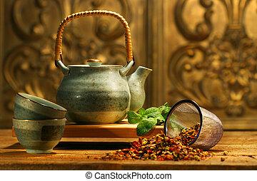 ハーブ, アジア人, お茶