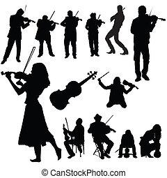 バイオリン, セット, プレーヤー