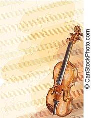 バイオリン, ハンドメイド, 背景, ノート。, 音楽