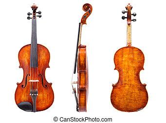 バイオリン, 光景, 前部, 背中, 側