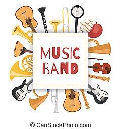 バイオリン, 道具, 音楽, トランペット, チェロ, ミュージカル, ベクトル, ジャズ, ギター, サクソフォーン, 旗, illustration., バンド, シンバル