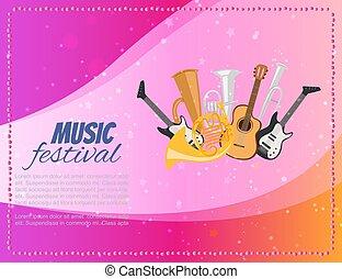 バイオリン, 道具, 音楽, トランペット, チェロ, ミュージカル, ポスター, ベクトル, ギター, サクソフォーン, コンサート, illustration., 祝祭