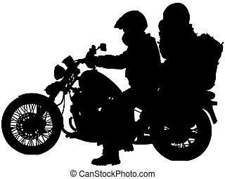 バイカー, シルエット, オートバイ