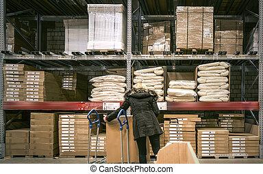 バイヤー, 商品, 受け取る, 倉庫