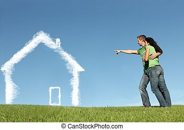 バイヤー, 概念, 家, ローン, 抵当, 新しい 家
