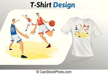 バスケットボール選手, ゲーム, 隔離された, の上, tシャツ, バックグラウンド。, ベクトル, デザイン, 白, print., template., mock, テンプレート