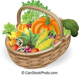 バスケット, 新鮮な野菜