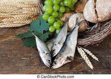 バスケット, fish, 神聖, bread