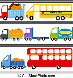 バス, トラック, 車, 貨物