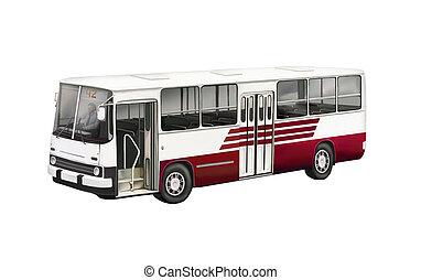 バス, ライン, 側, イラスト, 赤