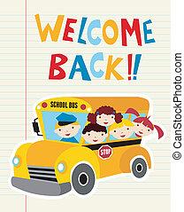 バス, 学校, 歓迎, 背中