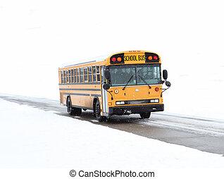 バス, 学校, 雪