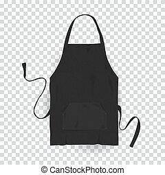 バックグラウンド。, ベクトル, 現実的, 黒, apron., 台所, イラスト, 透明
