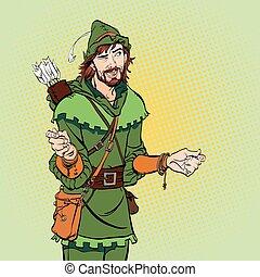 バックグラウンド。, ロビン, 不思議そうである, 中世, legends., 笑い, halftone, 英雄, hood.