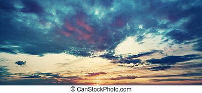バックグラウンド。, 空, 日没, パノラマである