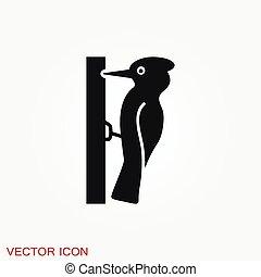 バックグラウンド。, 隔離された, キツツキ, icon., シンボル, 鳥, ベクトル