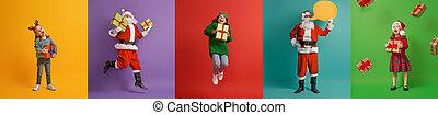 バックグラウンド。, claus, 多色刷り, santa, 子供