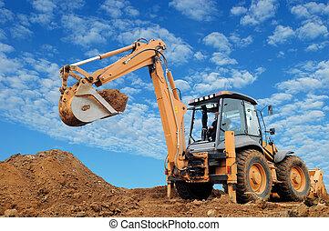 バックホウ, rised, 掘削機, 積込み機
