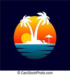 バッジ, 浜, 日没, ロゴ