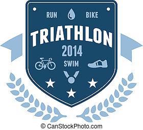 バッジ, triathlon, 紋章, デザイン