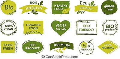 バッジ, vegan, 耕作される, ラベル, bio, ベクトル, 自然, eco, 有機体である, 健康, logo., 無料で, gluten, 食物, tags., プロダクト, ステッカー