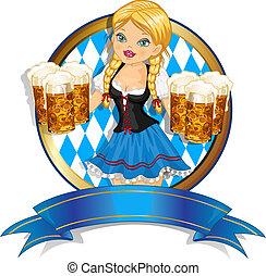 ババリア人, 旗, ビール, 女の子