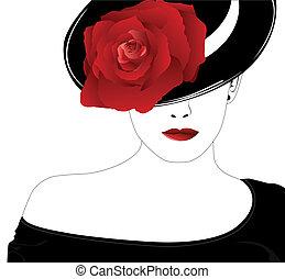 バラ, 女, 帽子