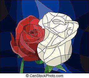 バラ, 明るい, 汚された, 葉, ガラス, 背景, 花, イラスト, frame., 赤, ブラウン