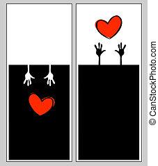 バレンタイン, パンフレット, ベクトル, テンプレート, カード, 日