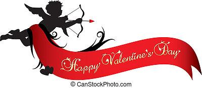 バレンタイン, 旗, 日, 幸せ