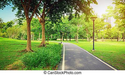 バンコク, 人々, 休む, ??city, 公共公園, 区域