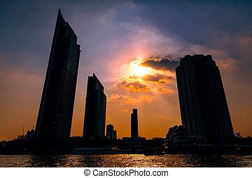 バンコク, 日没, 超高層ビル