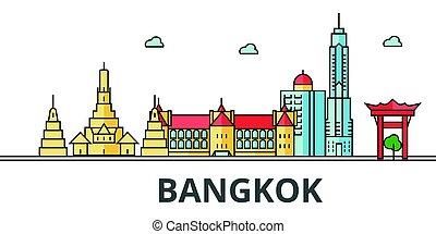 バンコク, 都市, skyline.