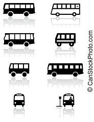 バン, バス, シンボル, ベクトル, ∥あるいは∥, set.