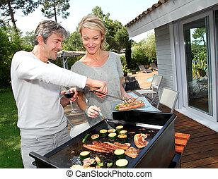 バーベキュー, 恋人, 料理, 肉, 庭